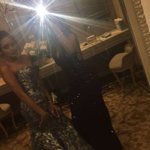 Macy's Dresses - Navy Blue Sequin PROM DRESS
